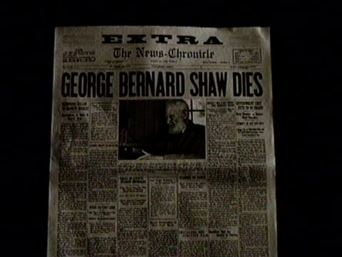 newsreel / no audio / greatest headlines of the century / newspaper headline from the daily-chronicle reads: george bernard shaw dies / footage of... - 脚本家点の映像素材/bロール