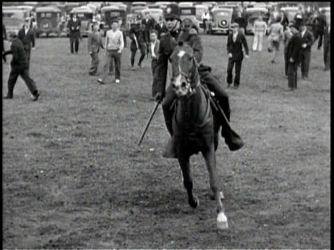 newsreel / no audio / knitting mills strike turns riot in new york / men walk down the street / a policeman watches pedestrians / an officer on a... - recreational horse riding stock videos & royalty-free footage