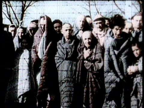 vídeos de stock e filmes b-roll de newsreel / no audio / title card reads: greatest headlines of the century / the news chronicle extra headline reads: concentration camps liberated /... - nazismo