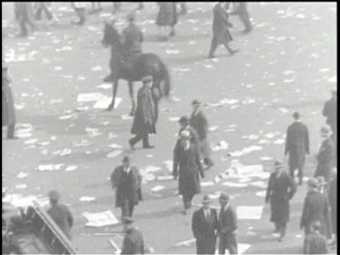 newsreel / no audio / title card reads: new york city - police scatter 40,000 jamming union square when radicals battle to march city hall /... - labor union stock videos & royalty-free footage