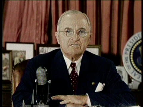 newsreel / no audio / truman fires macarthur for conflicting statements against the administration in 1951 / american politician speaking / same... - harry truman stock videos & royalty-free footage