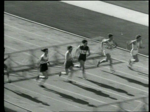 newsreel / pathe news title card 80 meter hurdles - women won by babe didrikson, us / gun goes off as hurdlers start race with fans in stadium /... - 1932 stock videos & royalty-free footage
