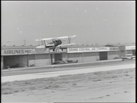 Newsreel / Pilot training includes mechanical and flight training in 1939 at Curtiss Wright Technical Institute in Glendale California / Students...
