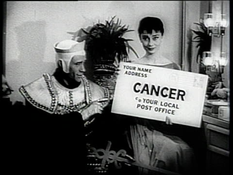 newsreel / public service message from audrey hepburn and mel ferrer / hepburn and ferrer ask for donation for the cancer society and it's crusade / - audrey hepburn stock videos & royalty-free footage