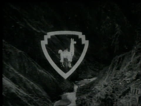 Newsreel title card for Peruvian newsreel Sucesos Peruanos / Features an image of a superimposed llama over Machu Picchu Newsreel title card on July...