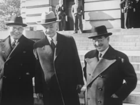 pacific fleet at pearl harbor / japan's emperor hirohito inspecting the troops / japanese diplomats in washington dc - 1941 stock videos & royalty-free footage