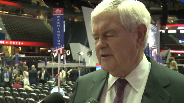 wjw newt gingrich says 2016 rnc mild compared to past conventions on july 21 2016 - republikanischer parteitag stock-videos und b-roll-filmmaterial
