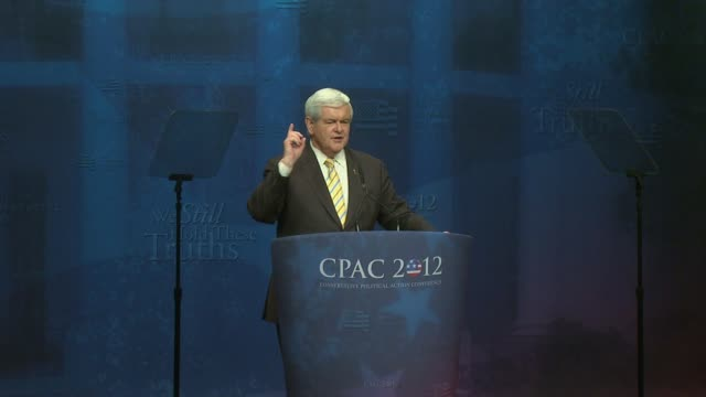newt gingrich speech to cpac 2012 leading conservatives presidential candidates speak at cpac gathering at marriott wardman park hotel on february 13... - us republican party stock videos & royalty-free footage