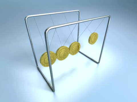 vídeos de stock e filmes b-roll de cgi newton's cradle with british pound coins on blue background - movimento perpétuo