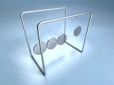 vídeos de stock e filmes b-roll de cgi newton's cradle with japanese yen coins on blue background - movimento perpétuo