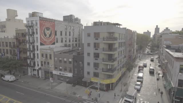 newyork_4k_manhatten_street_nice_art_obey_open - fire escape stock videos & royalty-free footage