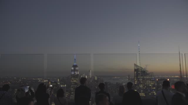 newyork_4k_manhatten_topoftherocks_night_open_skyline - observation point stock videos & royalty-free footage