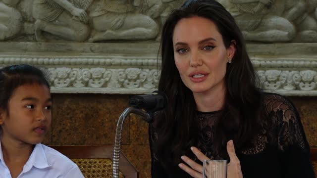 Next film Angelina Jolie attends a press conference for the premiere of First They Killed My Father on February 18 2017 in Siem Reap Cambodia