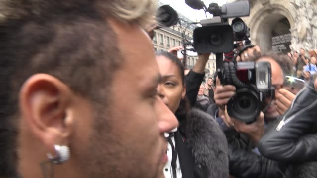 neymar exits the balmain show as part of the paris fashion week womenswear spring/summer 2018 on september 28 2017 in paris france - neymar da silva stock videos & royalty-free footage