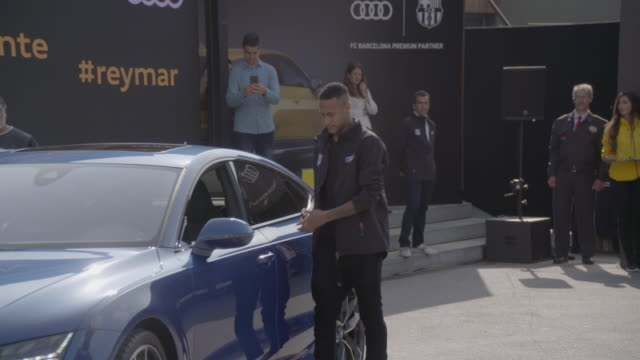 neymar jr receives a new audi 2017 car at camp nou on october 27 2016 in barcelona spain the barcelona football club first team receive new audi 2017... - neymar da silva stock videos & royalty-free footage