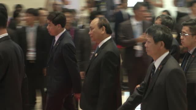 Nguyễn Xuân Phúc PM of Vietnam walks to a meeting during the Association of Southeast Asian Nations summit the Laotian capital Vientiane