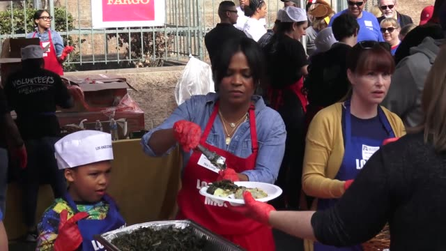 nia long at the los angeles mission's annual thanksgiving event for the homeless at los angeles mission in los angeles at celebrity sightings in los... - nia long stock videos and b-roll footage