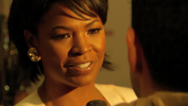 hd cu nia long interviewing with reporter on the red carpet - nia long stock videos and b-roll footage