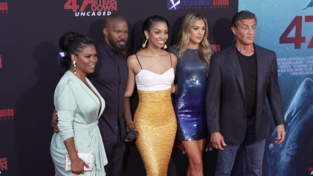 nia long jamie foxx corinne foxx sistine rose stallone and sylvester stallone at the los angeles premiere of 47 meters down uncaged on august 13 2019... - nia long stock videos and b-roll footage