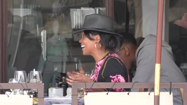 nia long joins a friend for lunch at il pastaio in beverly hills in celebrity sightings in los angeles - nia long stock videos and b-roll footage