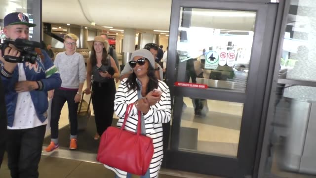 interview nia long talks basketball while arriving at lax airport in los angeles in celebrity sightings in los angeles - nia long stock videos and b-roll footage