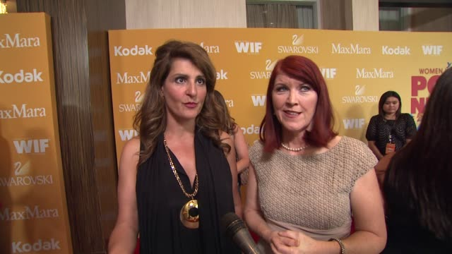 nia vardalos and kate flannery on why they wanted to celebrate wif why it's important for women to empower one another and what women are inspiring... - nia vardalos stock videos and b-roll footage
