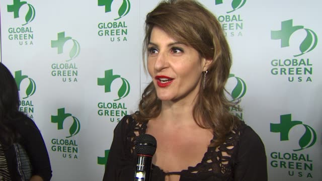 nia vardalos on being a part of the night supporting global green at the global green usa's 7th annual preoscar party at hollywood ca - nia vardalos stock videos and b-roll footage