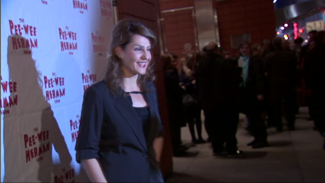 MS Nia Vardalos posing for paparazzi on the red carpet at the Stephen Sondheim Theater in New York City
