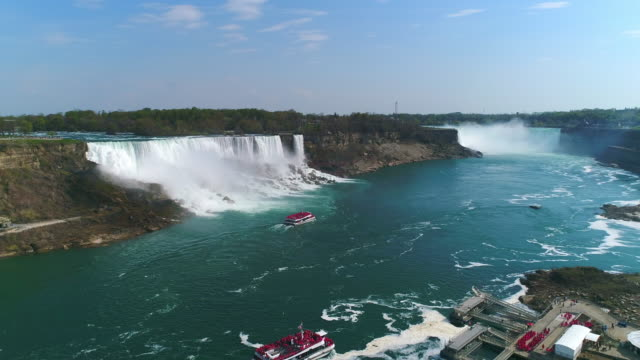 niagara falls, aerial view of the famous tourist attraction - niagara falls stock videos & royalty-free footage