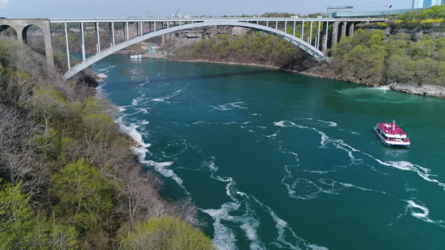 niagara falls, aerial view of the famous tourist attraction - river niagara stock videos & royalty-free footage