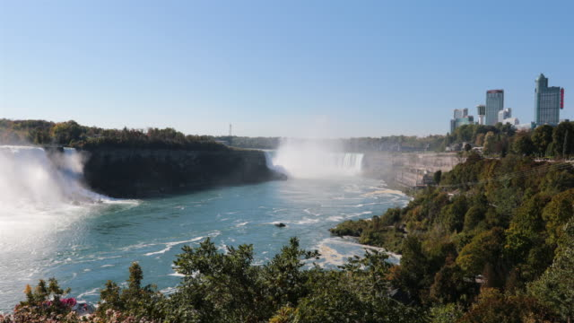 niagara falls and city uhd 4k video - river niagara stock videos and b-roll footage