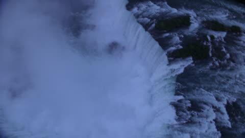 aerial, niagara falls and cityscape at dusk, ontario, canada - natural landmark stock videos & royalty-free footage