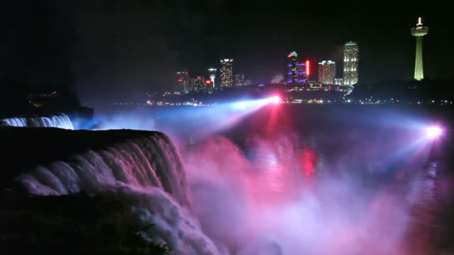 niagara falls at night - niagara falls city new york state stock videos & royalty-free footage