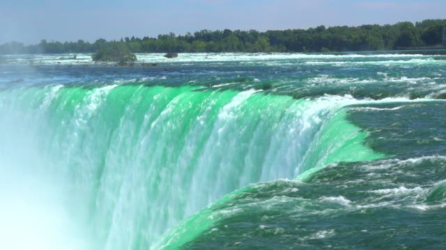 Niagara Falls, Canada: Impressive flow of water in the Horseshoe fall. Beauty of nature in the famous tourist attraction