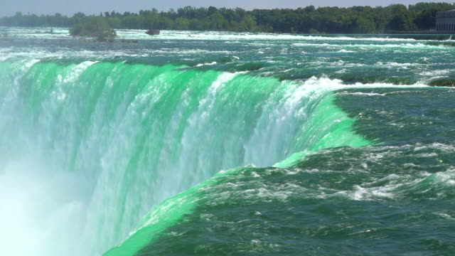 vídeos y material grabado en eventos de stock de niagara falls, canada: impressive flow of water in the horseshoe fall. beauty of nature in the famous tourist attraction - río niágara
