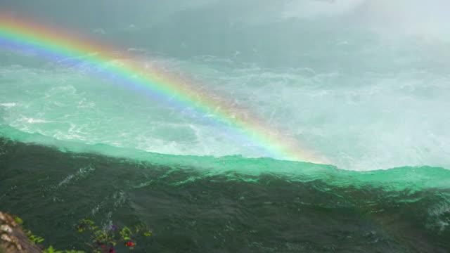 niagara falls canada rainbow behind the water edge of the famous