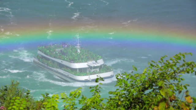 vídeos y material grabado en eventos de stock de niagara falls, canada: rainbow over a leaving cruise full of tourists - río niágara