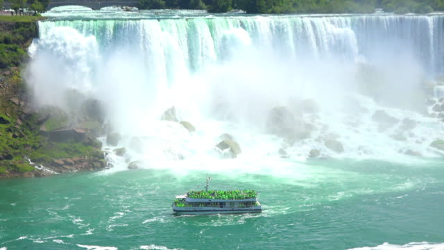 niagara falls, canada: the hornblower cruise passing in front the american falls - river niagara stock videos and b-roll footage