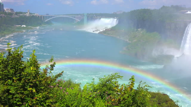 niagara falls, canada: zoom out from the rainbow bride to a natural rainbow formed by the falling water of the horseshoe falls - fluss niagara river stock-videos und b-roll-filmmaterial