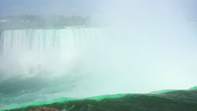 vídeos y material grabado en eventos de stock de niagara falls: horseshoe fall seen from the canadian side of the border - río niágara