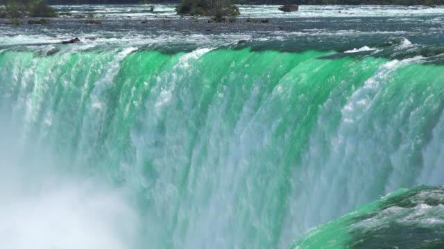 niagara falls: horseshoe fall seen from the canadian side of the border - fiume niagara video stock e b–roll