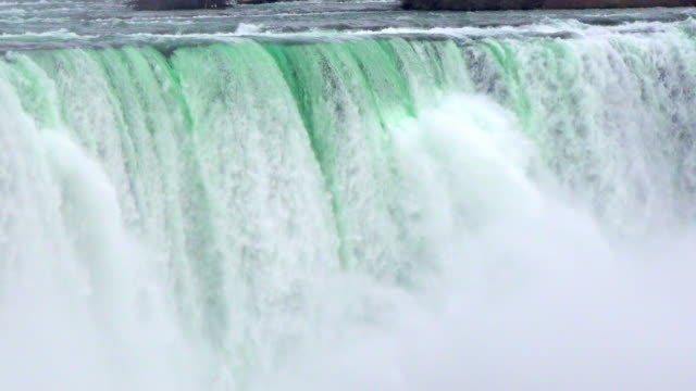 niagara falls: horseshoe waterfall at the end of the winter season - niagara falls stock videos & royalty-free footage