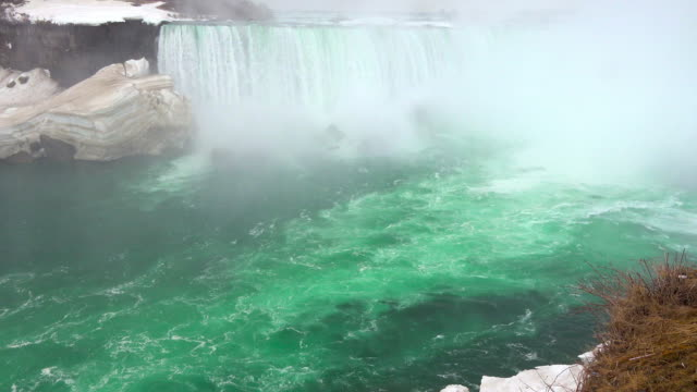 Niagara falls: horseshoe waterfall at the end of the Winter season