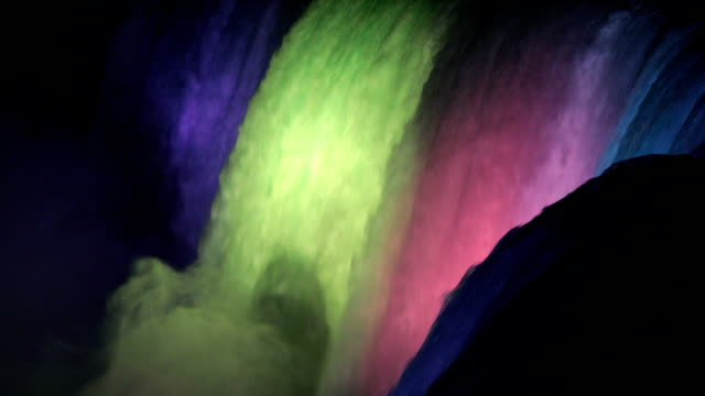 vídeos de stock, filmes e b-roll de cataratas do niágara, iluminada à noite hd video - niagara falls