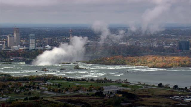 niagara falls mist rising - aerial view - new york,  niagara county,  united states - niagara falls video stock e b–roll