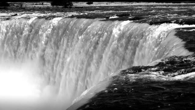 niagara falls natural marvel seen from the canadian side - black and white stock videos & royalty-free footage