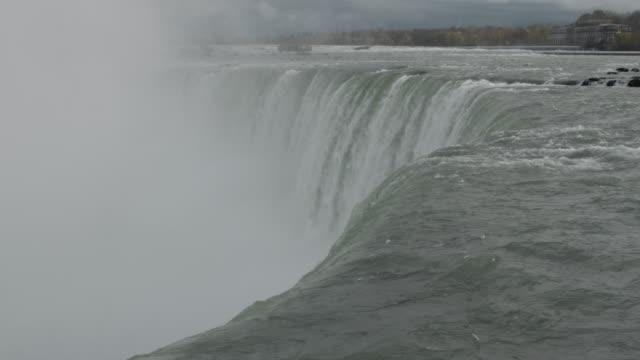 niagara falls on a cloudy day - river niagara stock videos & royalty-free footage