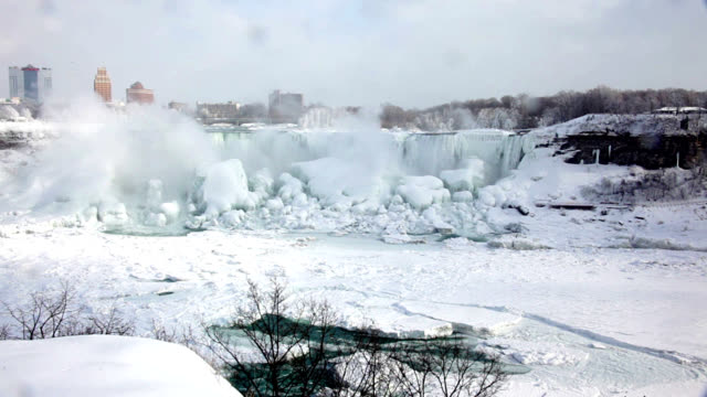 niagara falls partially frozen - niagara falls stock videos and b-roll footage