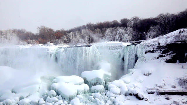 niagara falls partially frozen - frozen stock videos & royalty-free footage