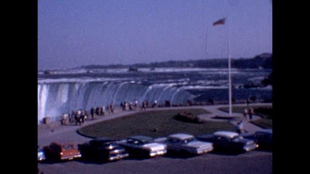 1961 niagara falls visitor center - niagara falls stock videos & royalty-free footage